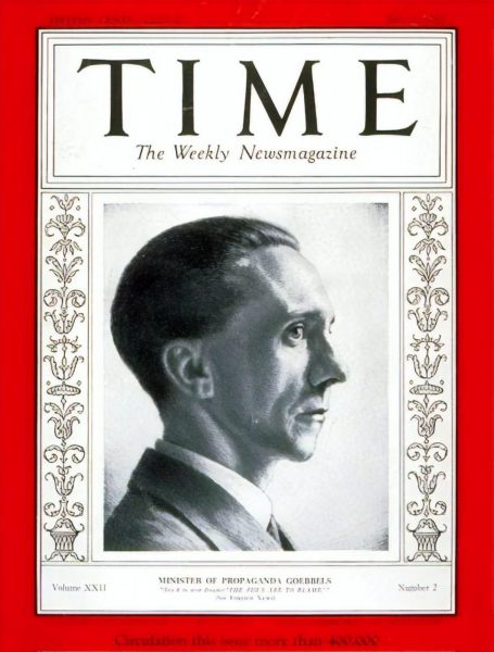 Nazi Propaganda Minister Joseph Goebbels featured on the cover of Time, July 1933.