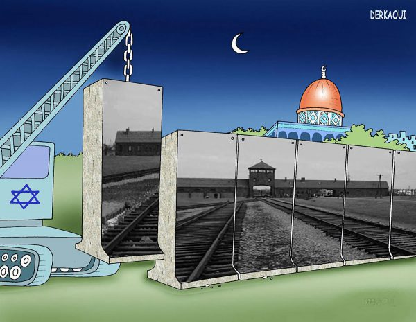 In this cartoon by Derkaoui Abdellah, which won first prize in Iran's first International Holocaust Cartoon Competition in 2006, an image of Auschwitz appears on a wall that obscures the Al-Aqsa Mosque.