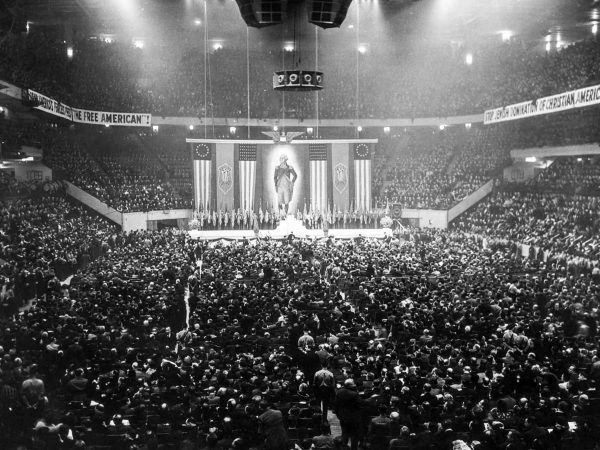 20,000 people attended the German American Bund rally held at Madison Square Garden on February 20, 1939.