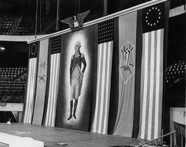 U.S. flags and a portrait of George Washington at the German American Bund rally at Madison Square Garden.