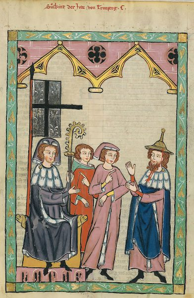 "Poet Süßkind von Trimberg (right) wearing a typical ""Jewish hat"" in the Codex Manesse from 14th century Germany."