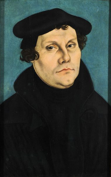 Martin Luther painted by Lucas Cranach the Elder, in 1529.