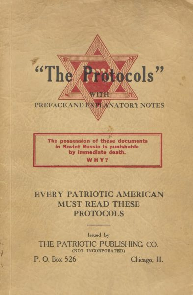 A 1934 edition of the Protocols of the Elders of Zion.