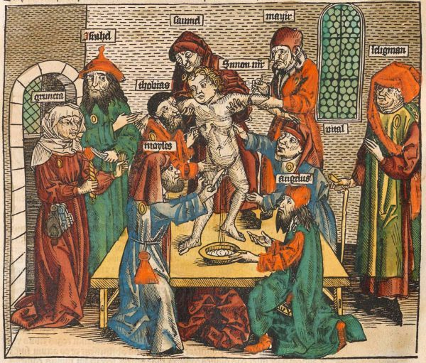 A 1493 woodcut of the story of Simon of Trent (1472-1475), an Italian child whose death was blamed on the leaders of the city's Jewish community (on the Jews)