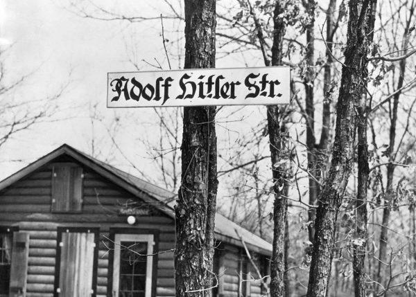 A sign marking Adolf Hitler St., which ran through Camp Siegfried.