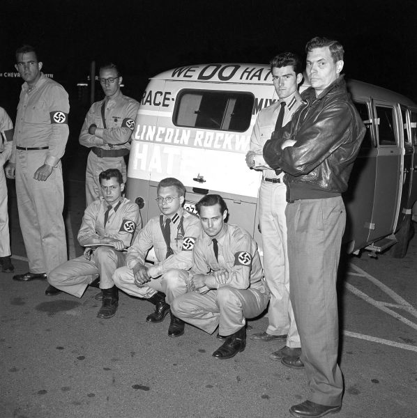 Lincoln Rockwell and followers of the American Nazi Party pose in 1961 next to the