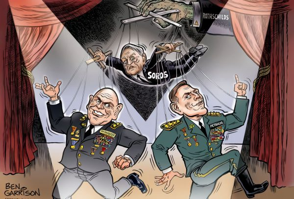 This 2017 political cartoon by Ben Garrison portrays Generals McMasters and Petraeus as puppets of George Soros and the Rothschilds.