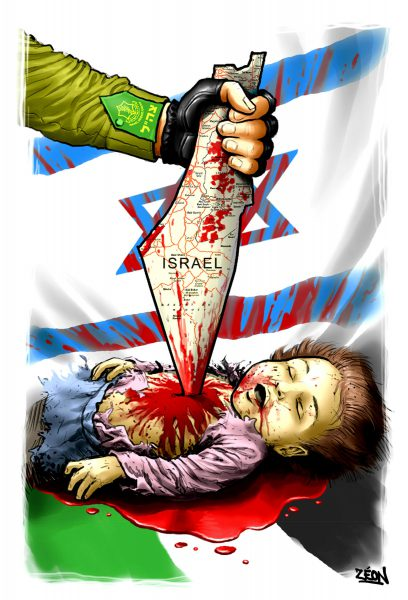 An anti-Israel, antisemitic drawing by French cartoonist Zeon.
