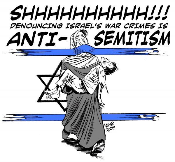 An antisemitic cartoon by Brazilian cartoonist Carlos Latuff.