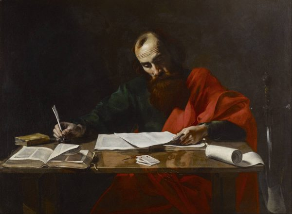 Painting of Saint Paul writing his epistles.