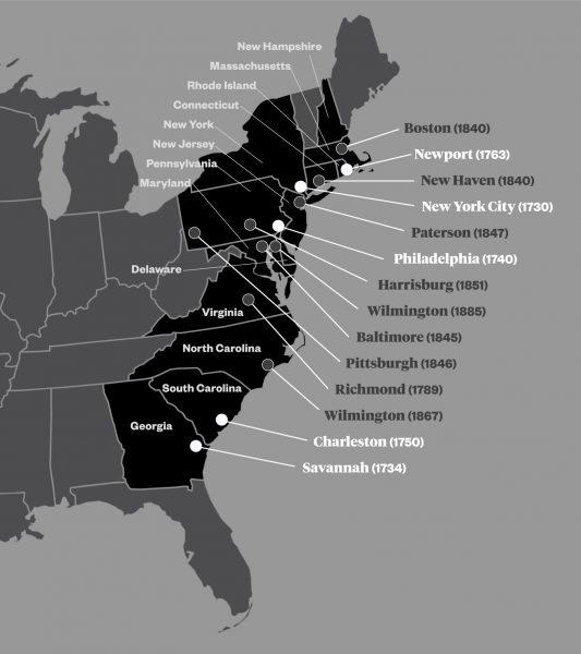 A map of early Jewish congregations in the 13 colonies.