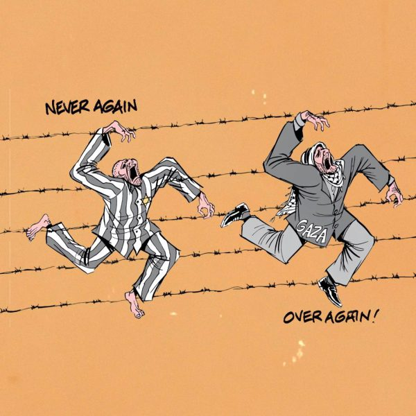 This cartoon employs antisemitism by comparing Israel's treatment of Palestinians to the actions of the Nazis towards Jews.