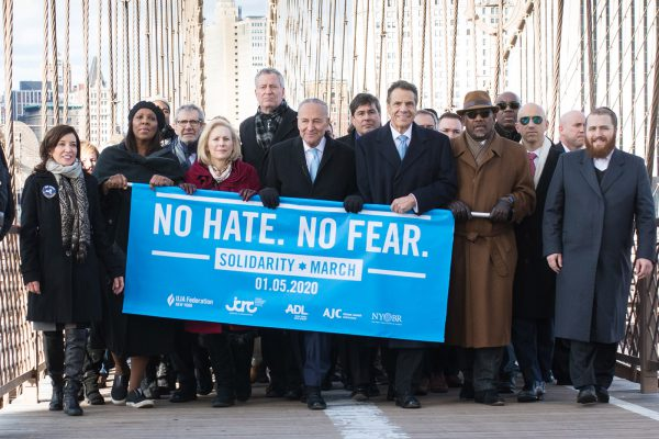 No Hate, No Fear Solidarity March against Antisemitism, Brooklyn Bridge, NYC, January 5, 2020